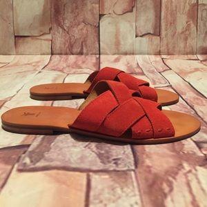 Frye Red Carla Criss Cross Slide Sandals